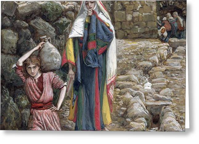 Jesus and His Mother at the Fountain Greeting Card by Tissot