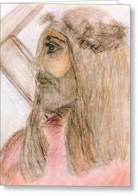 Catholic Art Drawings Greeting Cards - Jesus and the Cross  Greeting Card by Deborah  Yeager