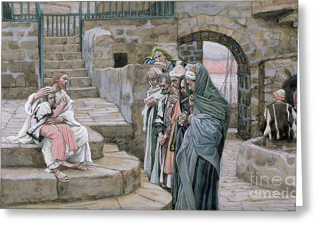 Christian Verses Greeting Cards - Jesus and the Little Child Greeting Card by Tissot
