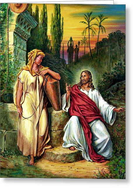 Biblical Scene Greeting Cards - Jesus and the Woman at the Well Greeting Card by John Lautermilch