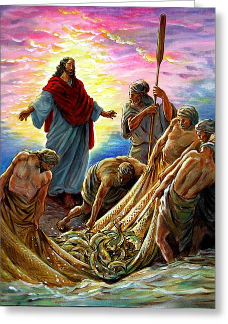 Bible Scene Greeting Cards - Jesus Appears to the Fishermen Greeting Card by John Lautermilch
