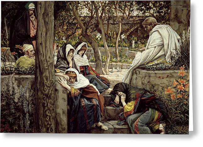 Jesus At Bethany Greeting Card by Tissot