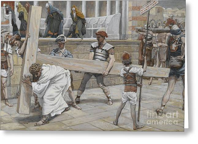 Roman Soldier Greeting Cards - Jesus Bearing the Cross Greeting Card by Tissot