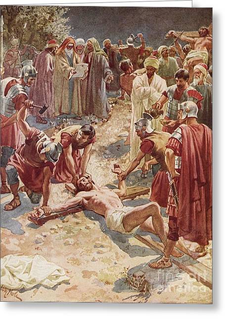 Roman Soldier Greeting Cards - Jesus being crucified Greeting Card by William Brassey Hole