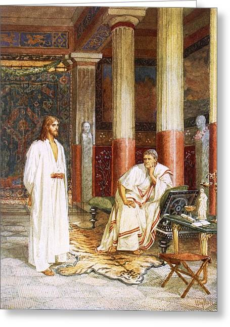 Pontius Greeting Cards - Jesus Being Interviewed Privately Greeting Card by William Brassey Hole
