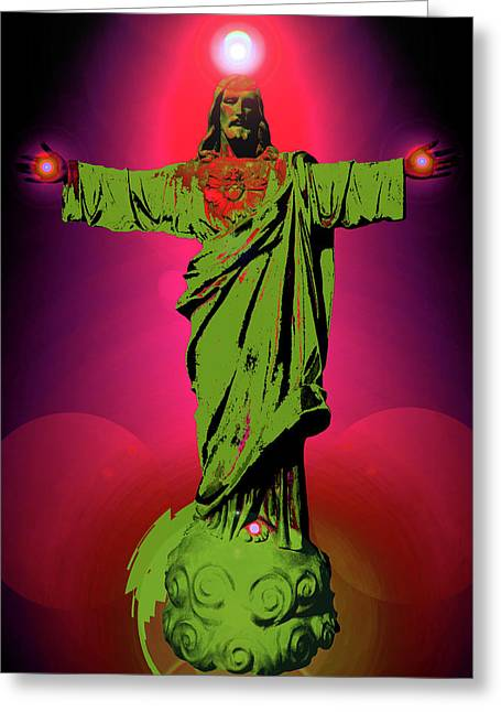 Religious Mixed Media Greeting Cards - Jesus Bless No. 03 Greeting Card by Ramon Labusch
