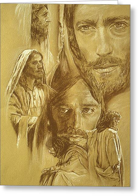 Conte Pencil Drawings Greeting Cards - Jesus Greeting Card by Bryan Dechter
