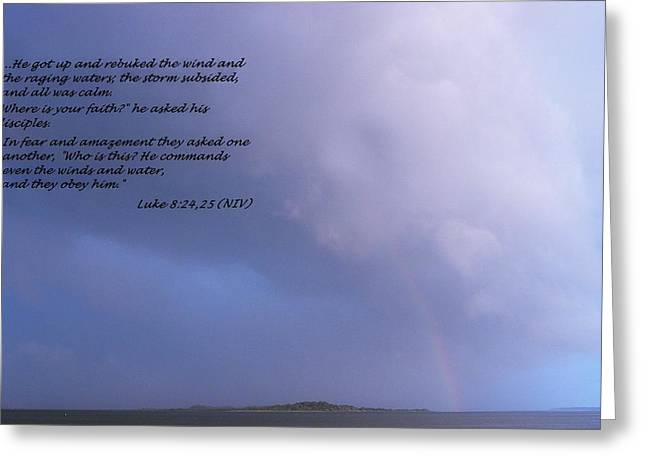 Storm Prints Digital Art Greeting Cards - Jesus Calms the Storm Greeting Card by Sheri McLeroy