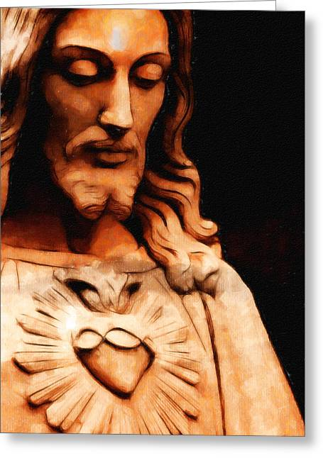 Incarnation Drawings Greeting Cards - Jesus Christ Greeting Card by Arun Sivaprasad