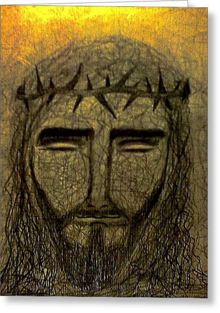 Jesus Christ Icon Drawings Greeting Cards - Jesus Christ Greeting Card by Nicole  Cris