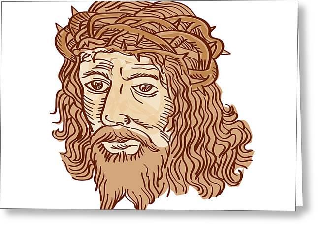 Jesus Christ Face Crown Thorns Etching Greeting Card by Aloysius Patrimonio