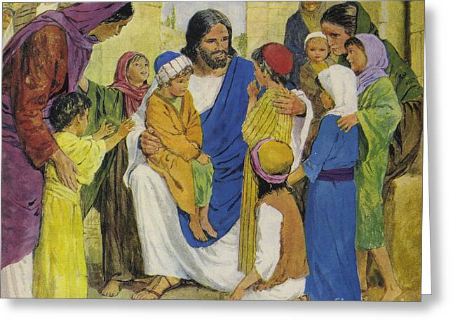 Jesus Christ, He Loved Children Greeting Card by Clive Uptton