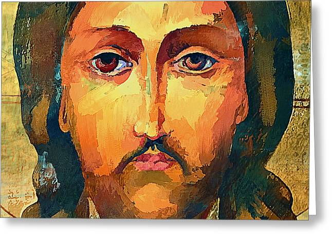 Jesus Christ Icon Digital Greeting Cards - Jesus Christ Icon Greeting Card by Yury Malkov