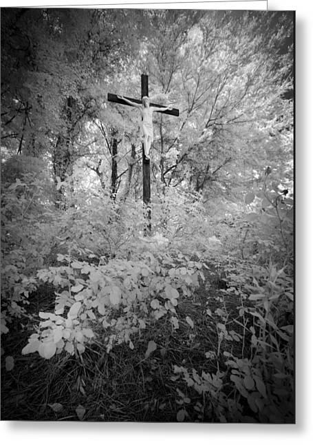 Savannah Infrared Photography Greeting Cards - Jesus Christ On Cross Savannah Georgia Greeting Card by Bradley R Youngberg