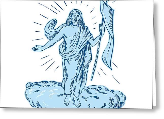 Resurrection Letterpress Greeting Cards - Jesus Christ Resurrection Etching Greeting Card by Aloysius Patrimonio