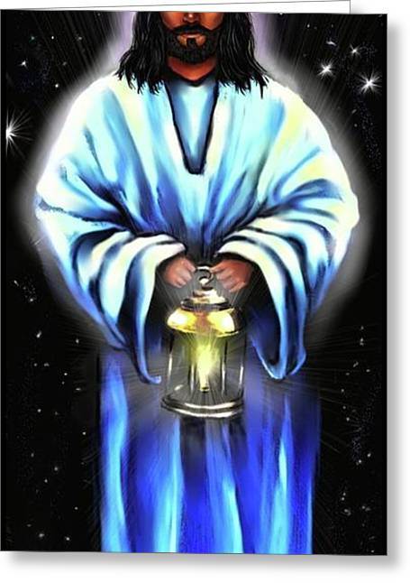 Jesus Christ Pictures Greeting Cards - Jesus Christ -The Guiding Light Greeting Card by Carmen Cordova