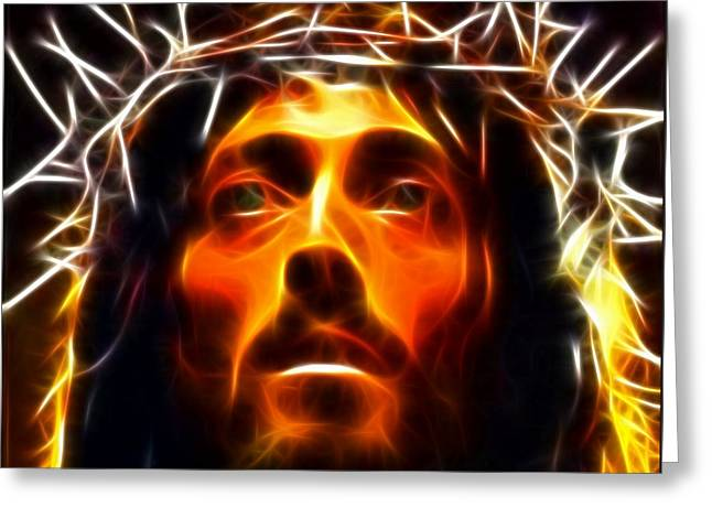 Religious Mixed Media Greeting Cards - Jesus Christ The Savior Greeting Card by Pamela Johnson