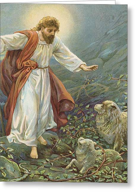 Vines Greeting Cards - Jesus Christ The Tender Shepherd Greeting Card by Ambrose Dudley