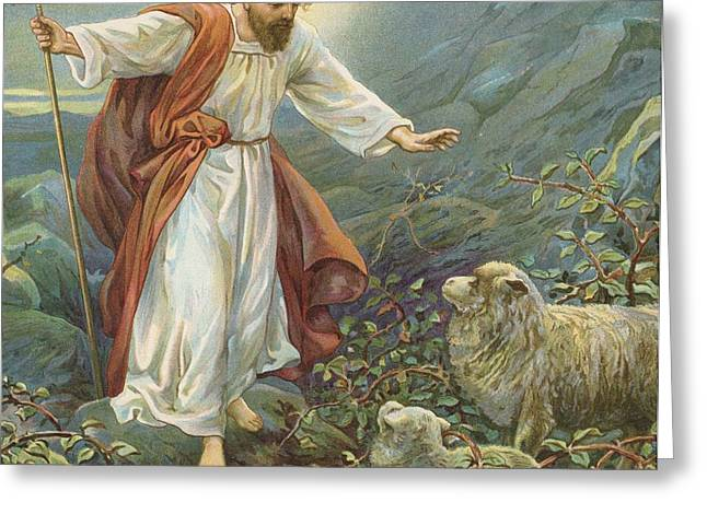 Jesus Christ The Tender Shepherd Greeting Card by Ambrose Dudley