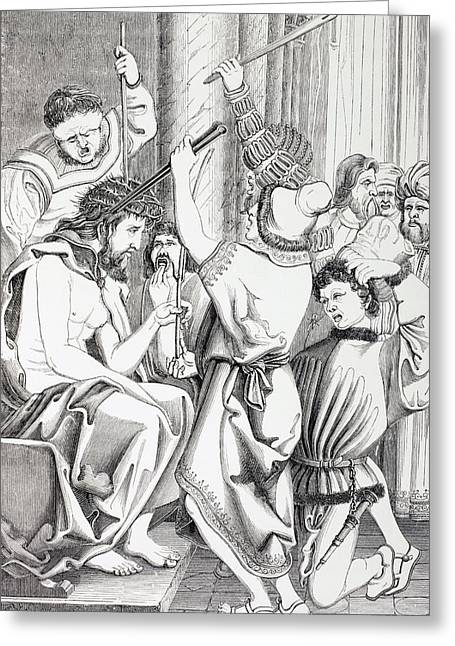 Torment Greeting Cards - Jesus Christ Tormented And Crowned With Greeting Card by Ken Welsh