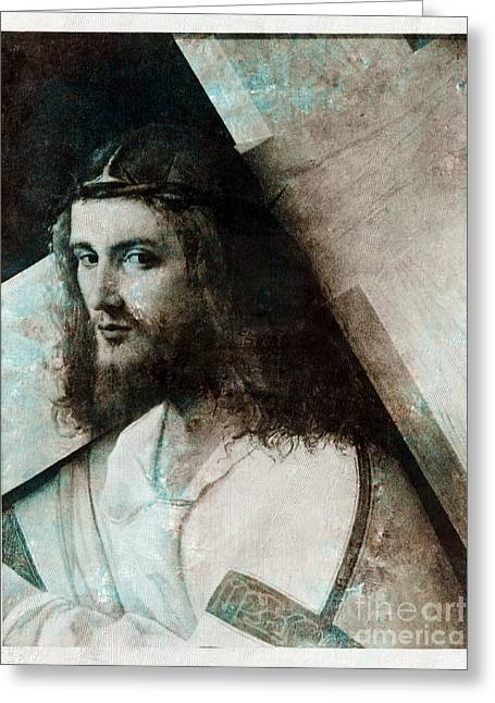Historical Images Drawings Greeting Cards - Jesus Christ With Cross Greeting Card by T Anderson
