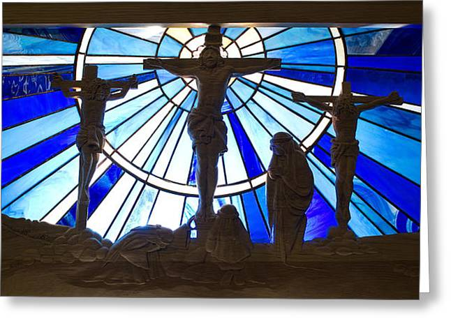 Calvary Greeting Cards - Jesus Crucifixion Wood Carving and Stained Glass Greeting Card by Cindy D Chinn