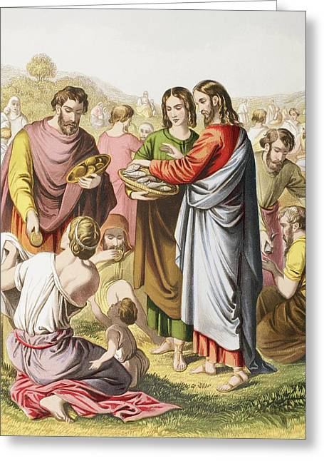 Testament Greeting Cards - Jesus Feeding The Multitude. The Greeting Card by Ken Welsh