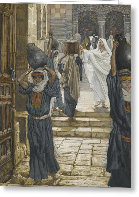 Carrier Greeting Cards - Jesus Forbids the Carrying of Loads in the Forecourt of the Temple Greeting Card by Tissot