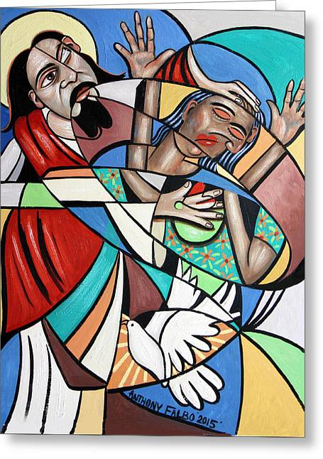 Holy Art Greeting Cards - Jesus Heals The Brokenhearted Greeting Card by Anthony Falbo