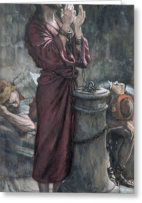 Christian Paintings Greeting Cards - Jesus in Prison Greeting Card by Tissot