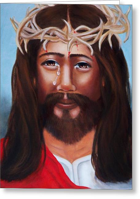 Recently Sold -  - Religious Greeting Cards - Jesus in Red Greeting Card by Joni McPherson