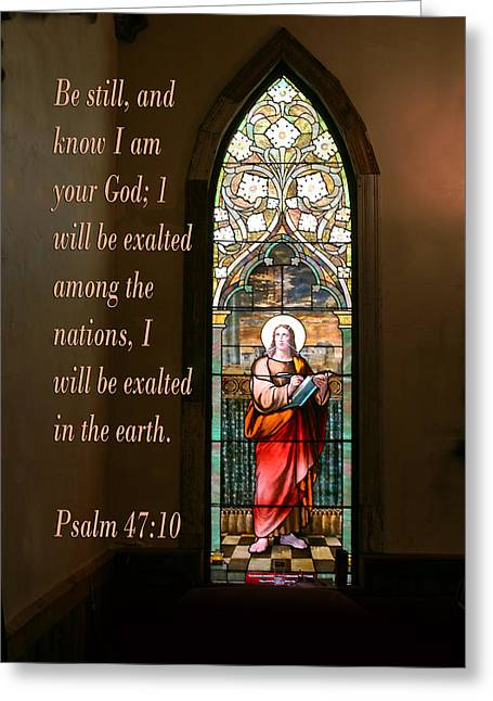 Scripture Verse Greeting Cards - Jesus in Stained Glass Ps. 47 vs 10 Greeting Card by Linda Phelps
