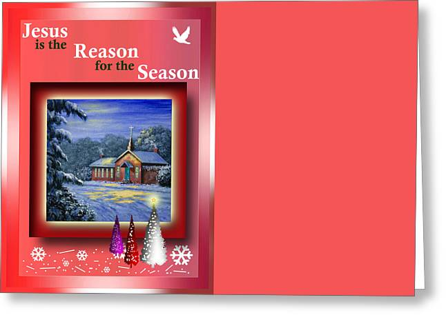 Religious Paintings Greeting Cards - Jesus is the Reason for the Season Greeting Card by Saeed Hojjati