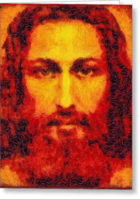 Growling Greeting Cards - Jesus Light of the World Greeting Card by Riccardo Zullian