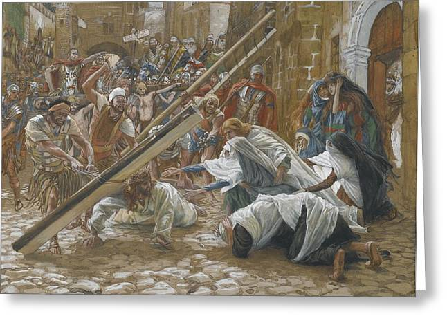 Outstretched Arm Paintings Greeting Cards - Jesus Meets His Mother Greeting Card by Tissot