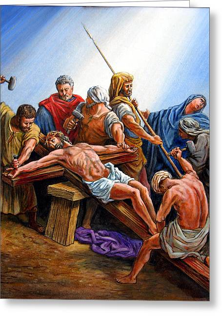 Bible Scene Greeting Cards - Jesus Nailed to the Cross Greeting Card by John Lautermilch