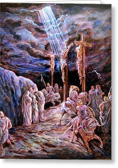 Jesus Cross Greeting Cards - Jesus on the Cross Greeting Card by John Lautermilch