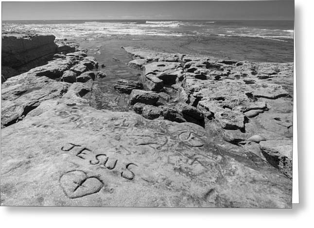 Jesus On The Rock Black And White Greeting Card by Scott Campbell