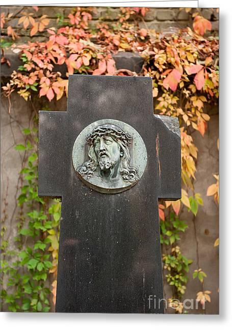 Jesus Portrait Cross Monument Greeting Card by Arletta Cwalina