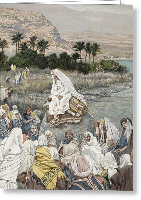 Best Sellers -  - The Followers Greeting Cards - Jesus Preaching by the Seashore Greeting Card by Tissot