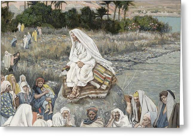 Jesus Preaching by the Seashore Greeting Card by Tissot