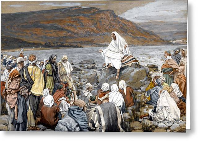 Parable Greeting Cards - Jesus Preaching Greeting Card by Tissot