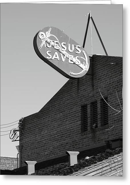 Best Sellers -  - Stockton Greeting Cards - Jesus Saves Stockton CA Greeting Card by Troy Montemayor