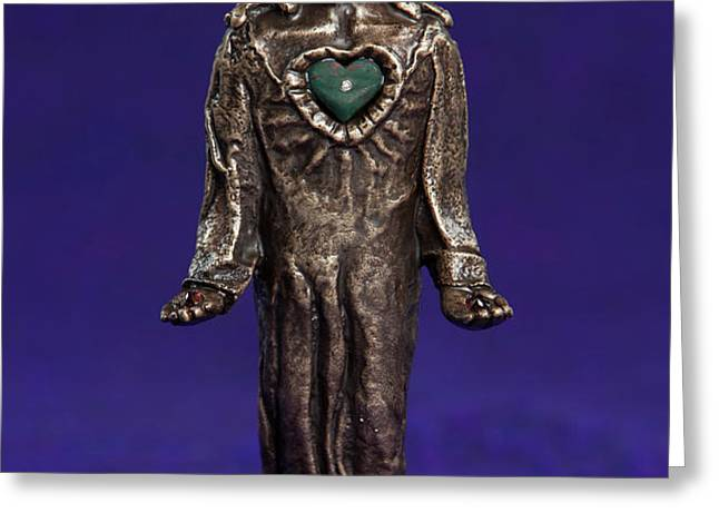 Jesus Statue with Sacred Heart Greeting Card by Jasmina Agrillo Scherr
