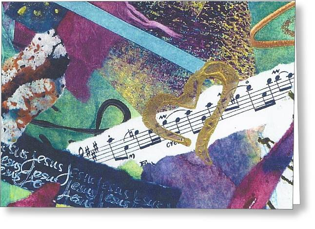 Jesus Mixed Media Greeting Cards - Jesus The Music of My Heart Greeting Card by Mary Martin