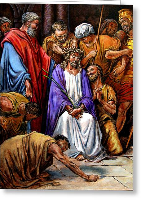 Torment Paintings Greeting Cards - Jesus Tormented Greeting Card by John Lautermilch