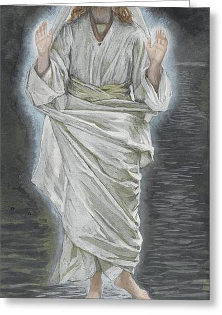 Sea Of Galilee Greeting Cards - Jesus Walks on the Sea Greeting Card by Tissot