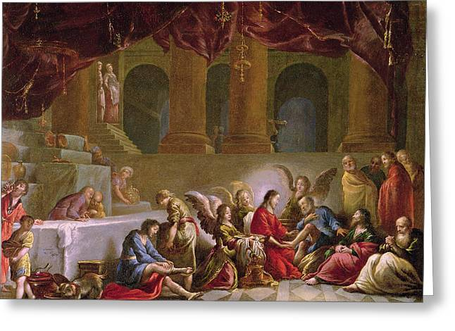 Act Of God Greeting Cards - Jesus Washing the Disciples Feet  Greeting Card by Claude Vignon