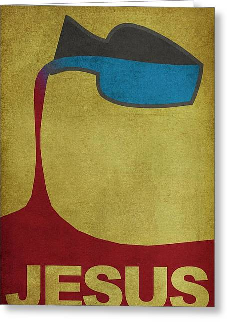 Bible Character Greeting Cards - Jesus Water to Wine Minimal Art Greeting Card by Brett Pfister