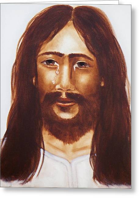 Religious Greeting Cards - Jesus Wept Greeting Card by Joni McPherson